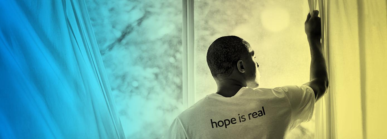 Man wearing Hope is real shirt