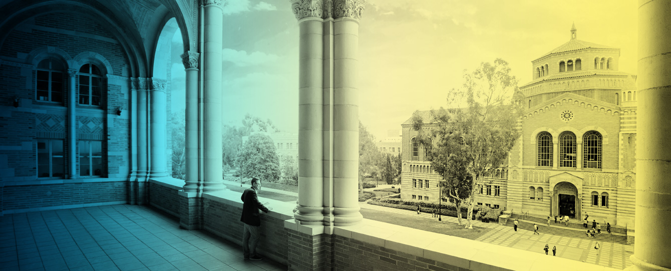 Royce Hall overlooking Powell Library
