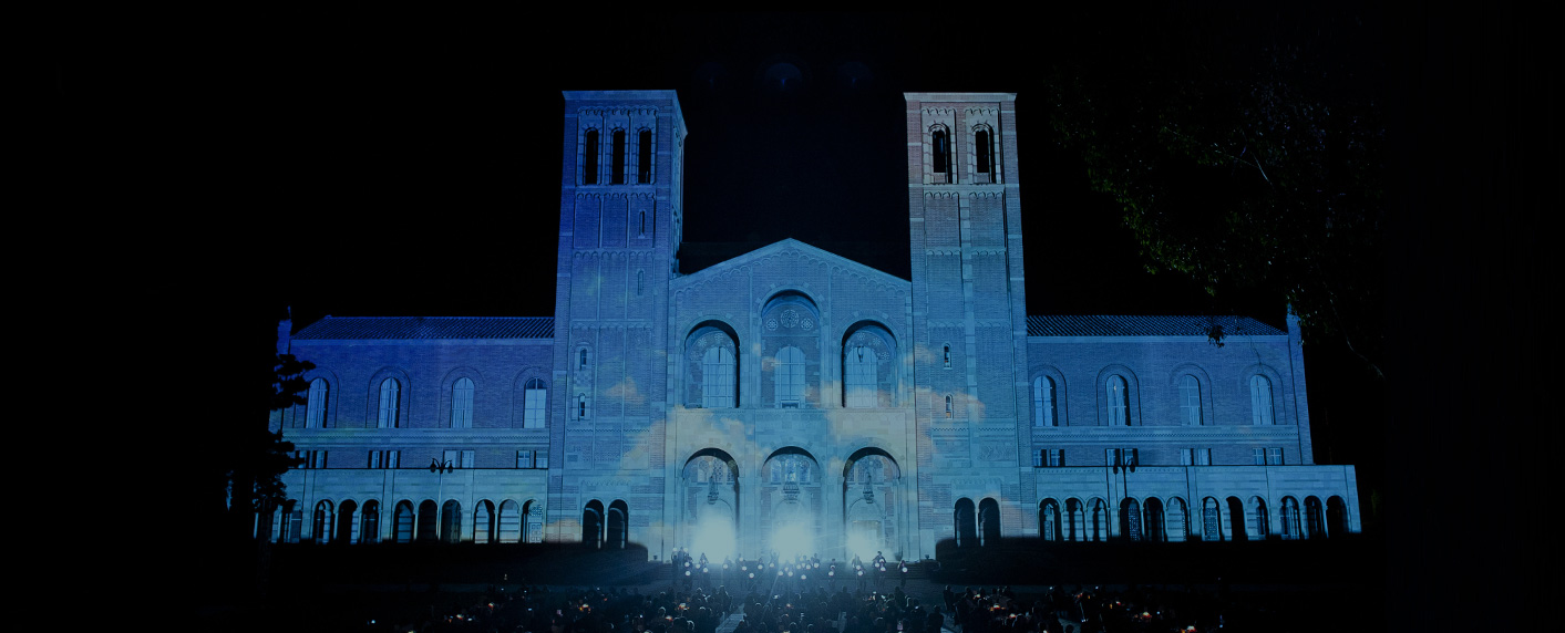 Nighttime UCLA Centennial celebration at Royce Hall