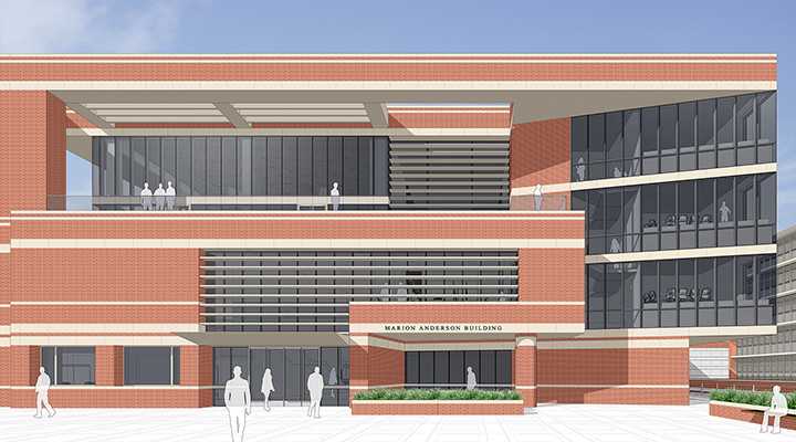 Rendering of Marion Anderson Building south entry façade