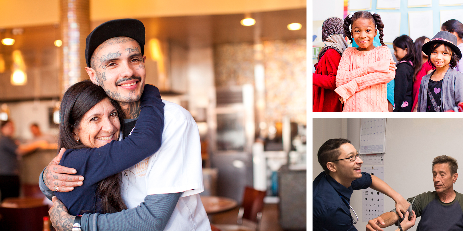 Professor embraces former gang member. UCLA Community School students smile. Doctor treats homeless man.